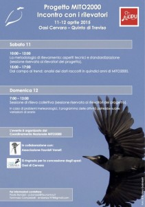 Programma dell'incontro per i rilevatori - Oasi di Cervara 2015