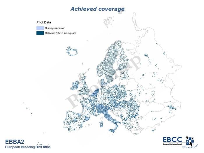 Mappa dei quadrati 10x10 km per cui sono stati ricevuti dati per il progetto EBBA2